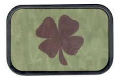 4 leaf clover on wood buckle