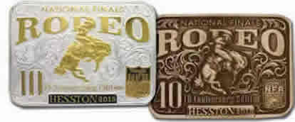 2015 Hesston Buckles gold silver and brass