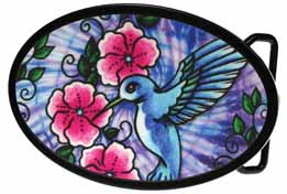 720274 Blue Hummingbird on oval buckle