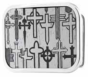 303446 many crosses on white wood buckle