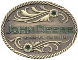 Nothing Runs like a Deere brass buckle
