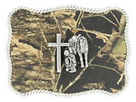Camouflage Praying Cowboy buckle