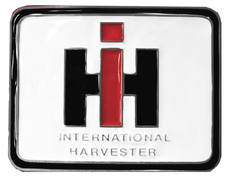 International Harvester white rectangular buckle