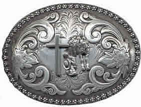 Praying cowboy and horse buckle front view