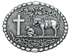 Praying Cowboy with Cross and horse buckle