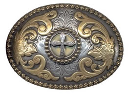 Buckle with small cross in center and gold scroll