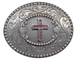 Pink Rhinestone Cross Belt buckle
