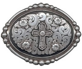 Black silver cross buckle