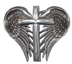 Cross and wings cutout buckle