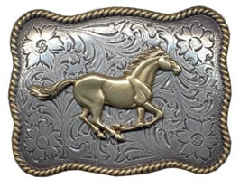 Wavy Rectangle Gold and Silver Horse buckle